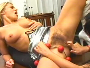 Hairy lesbian pussy takes pleasure beads