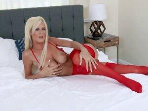 Blonde MILF Olivia Blu got fucked in her red