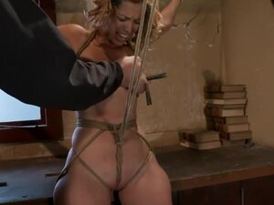Hot blond has clothespins flogged off her breasts,