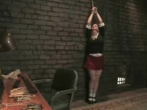 School dressed bitch gets tied and bumped hard in