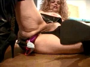 Granny Porn Star Leather Boots Toy n Ass