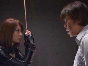 Japanese MILF in a leather outfit gets fucked