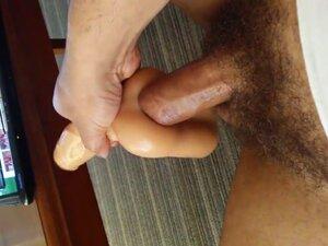 Jerking with fake penis