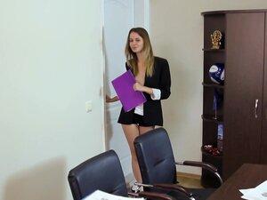 Beautiful teen secretary shows off in HD video,