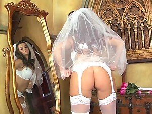 Smoking Brunette Bride Masturbates As She's