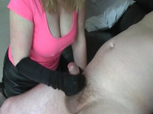 Busty wife in leather and stockings taunts cuck