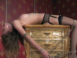 Bounded pierced slut gets pussy punished