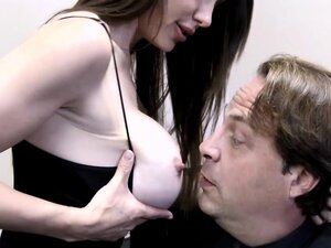 Handsome brunette milf blows a fat cock in the