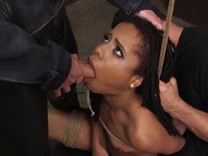 Ebony whipped and fucked threesome