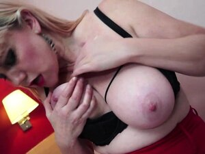 Big boobed hairy mature rubbing and toying her