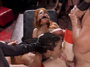 Redhead anal fucked while ebony licking