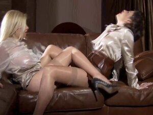 Clothed satin babes eat pussy