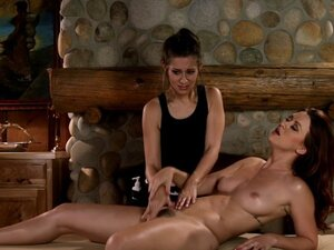 Lesbo masseuse tribbing with redhead client