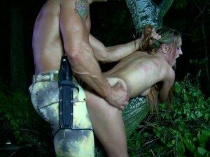 Military man fucks a slut in the woods