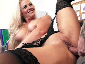 Busty boss Holly Heart has him pound her twat on