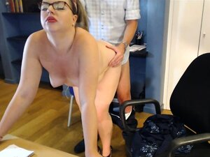 Curvy blonde with lovely boobs takes it doggystyle