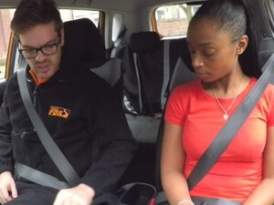 Fake Driving School ebony learner with big tits is