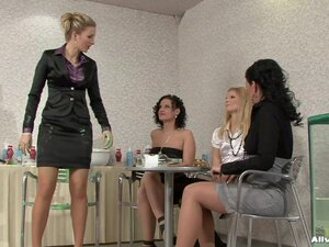 Messy, sexy fun as lesbian babes have a wild food