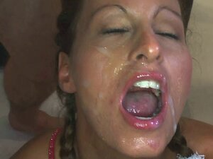 Collection of hungry girls eating cum during a