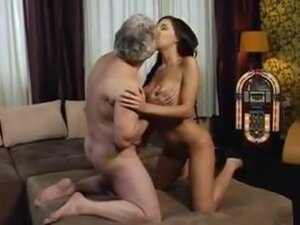Busty brunette screwed by horny old man,
