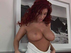 Busty redhead babe Ashley masturbates -