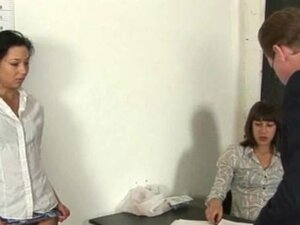 Dirty job interview for young brunette secretary