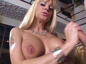 Jazzy dumb blonde jerks off big cock onto her