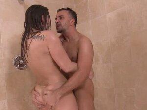 Brunette beauty wet hairy twat hammered in shower