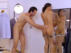 Sexy brunette mistress gets pussy pounded by her