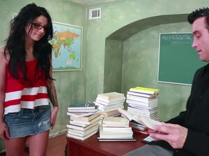 Horny black haired student Madelyn Monroe gives a
