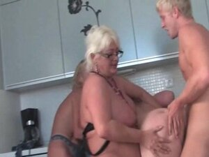 Stockinged mature cunt nailed from behind in group