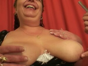 Busty bitch swallows two young cocks