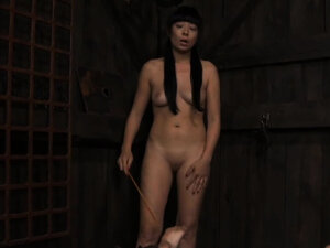 Intense caning with painful torture for tattooed