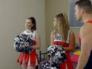 Cheerleaders Ember Stone and Ms Faris drop their
