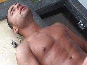 Latino pool jerk off is exciting