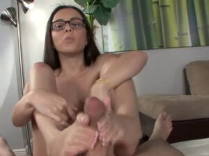 Spex slut foot fucks hard dick