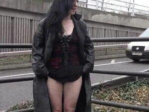 Gothic exhibitionist Fayth Corbin flashes and