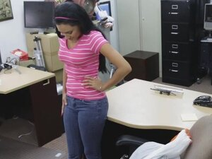 Latina teen babe Amber fucked in pawn shop for