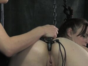 Gagged bdsm sub caned while bound, Gagged bdsm sub