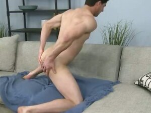 Hot gay jerks his dick and cumming