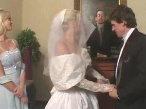 Fetish bride in satin wedding dress gets a hard