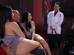 Doctor fucks two strippers in a stripclub and his