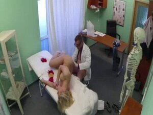 Petite blonde patient gets fucked by her doctorors