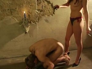 Mistress Tortures Guy with Wax