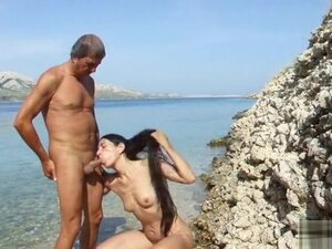 Amateur doggystyle sex in the sea, Bent over and