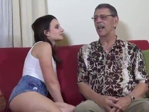 young brunette first time fucked on camera by old