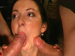 Michelle swallows for the first time, Hot brunette