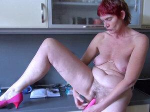 Granny in the toilet masturbates and than has sex