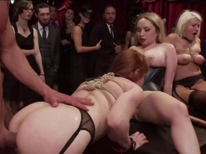 Hot slaves suck and fuck bdsm party