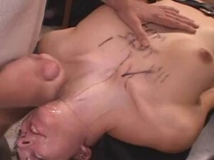 Brunette Whore Covered In Cum On Table At Tampa